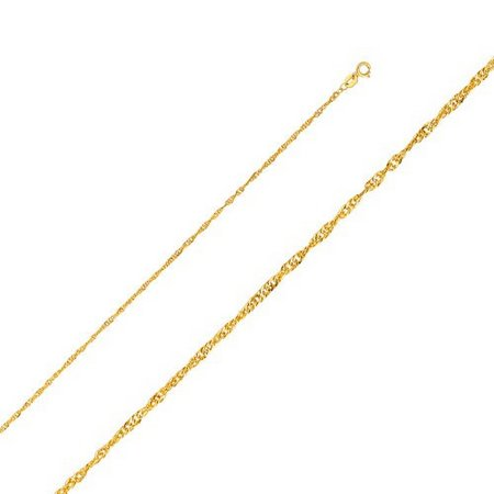 14K Yellow Gold Men Women's 1.6MM Singapore Chain Spring Clasp (20)
