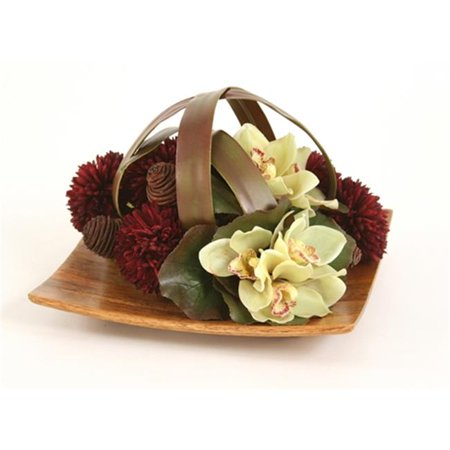 Distinctive Designs 7601 Silk Green Orchid Bouquets and Burgundy Mums Caged by Blades on a Wood Tray