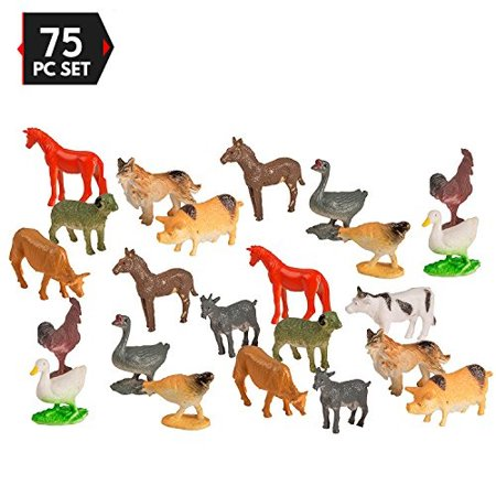 75 Piece Mini Farm Animal Assortment Party Pack by Big Mo's Toys