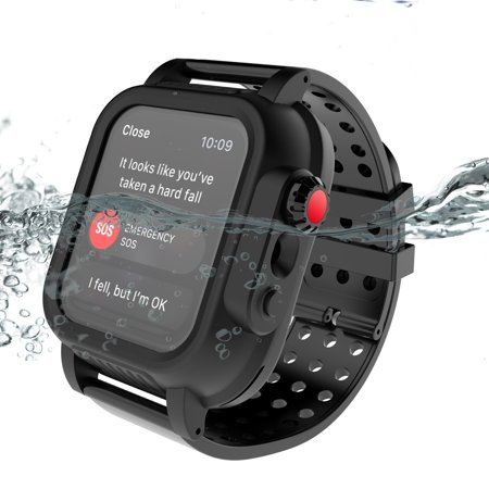 Apple Watch IP68 Diving Waterproof Case 42mm Series 3 with Premium Soft Silicone Apple iWatch Band, Superb craft military Shock Proof Impact Resistant, Ultra-thin iwatch Waterproof