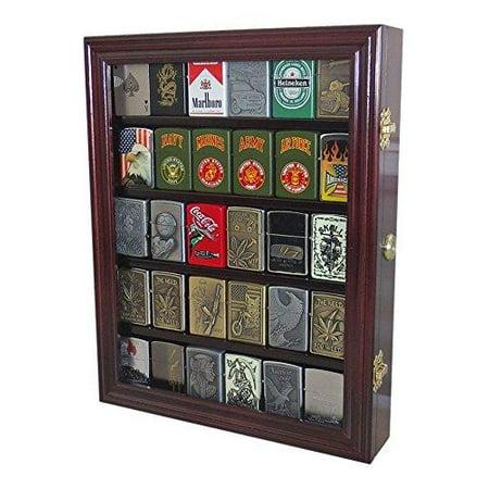 - Lockable Cigarette/Sport Lighter Display Case Wall Cabinet Shadow Box LC30 (Mahogany)