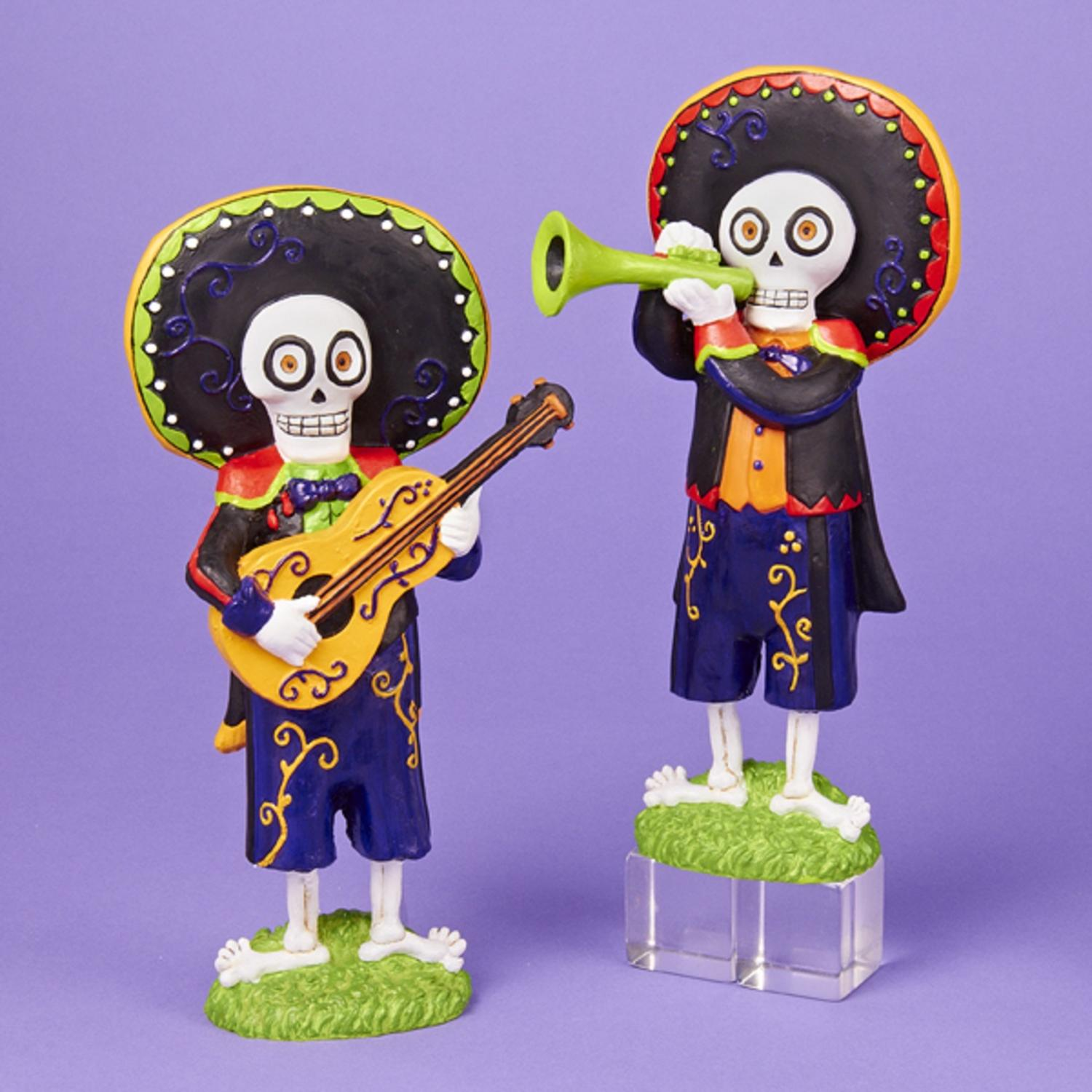 Set of 2 Day of the Dead Mariachi Band Halloween Table Piece Decorations 9.75""