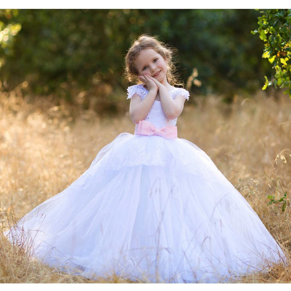 Little Girls White Pink Gloria Lace Applique Tulle Ball G...