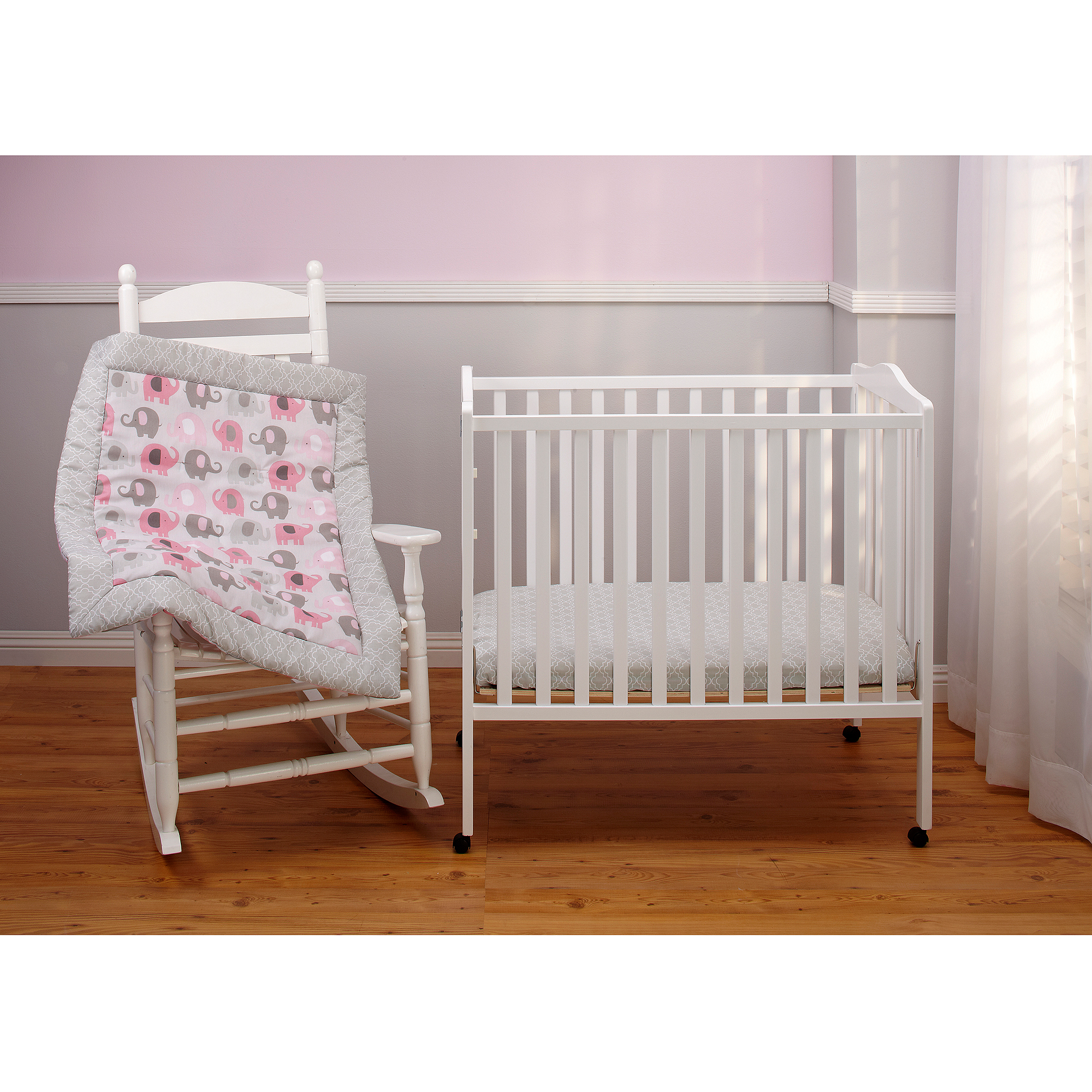 Little Bedding by NoJo Elephant Time 3-Piece Portable Crib Bedding Set, Pink
