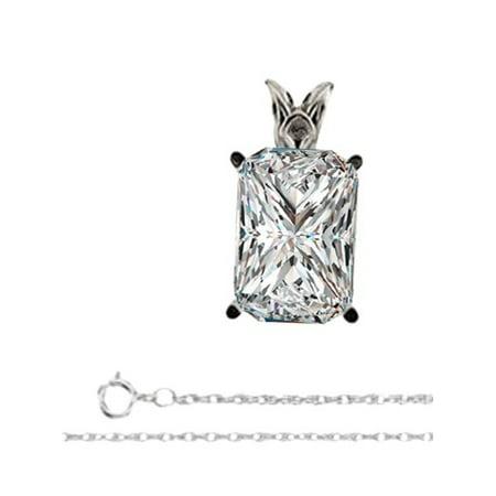 Radiant Diamond Solitaire Pendant Necklace 14K White Gold ( 0.66 Ct, E, VS1 GIA Certified)
