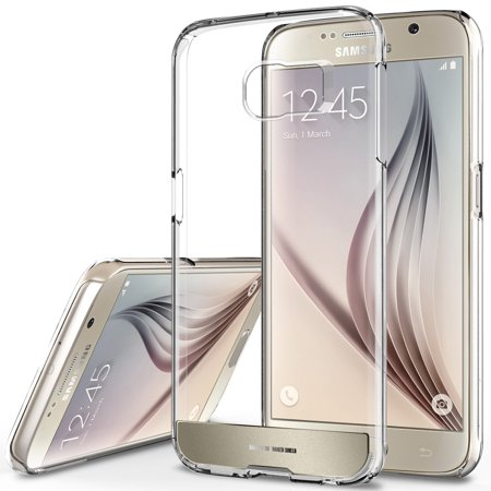 OBLIQ, Galaxy S6 Case [Naked Shield][Gold Platinum] Slim Crystal Clear Back Anti Scratch Protective Cover for Galaxy S6