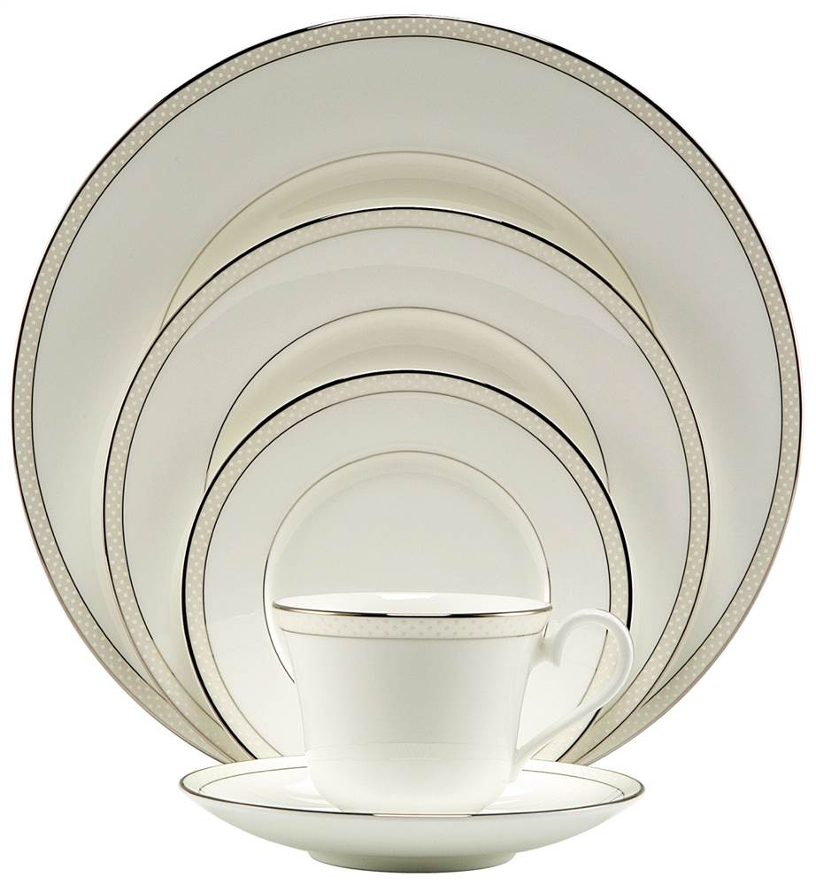 Platinum Beaded Pearl 5 Pc Place Setting