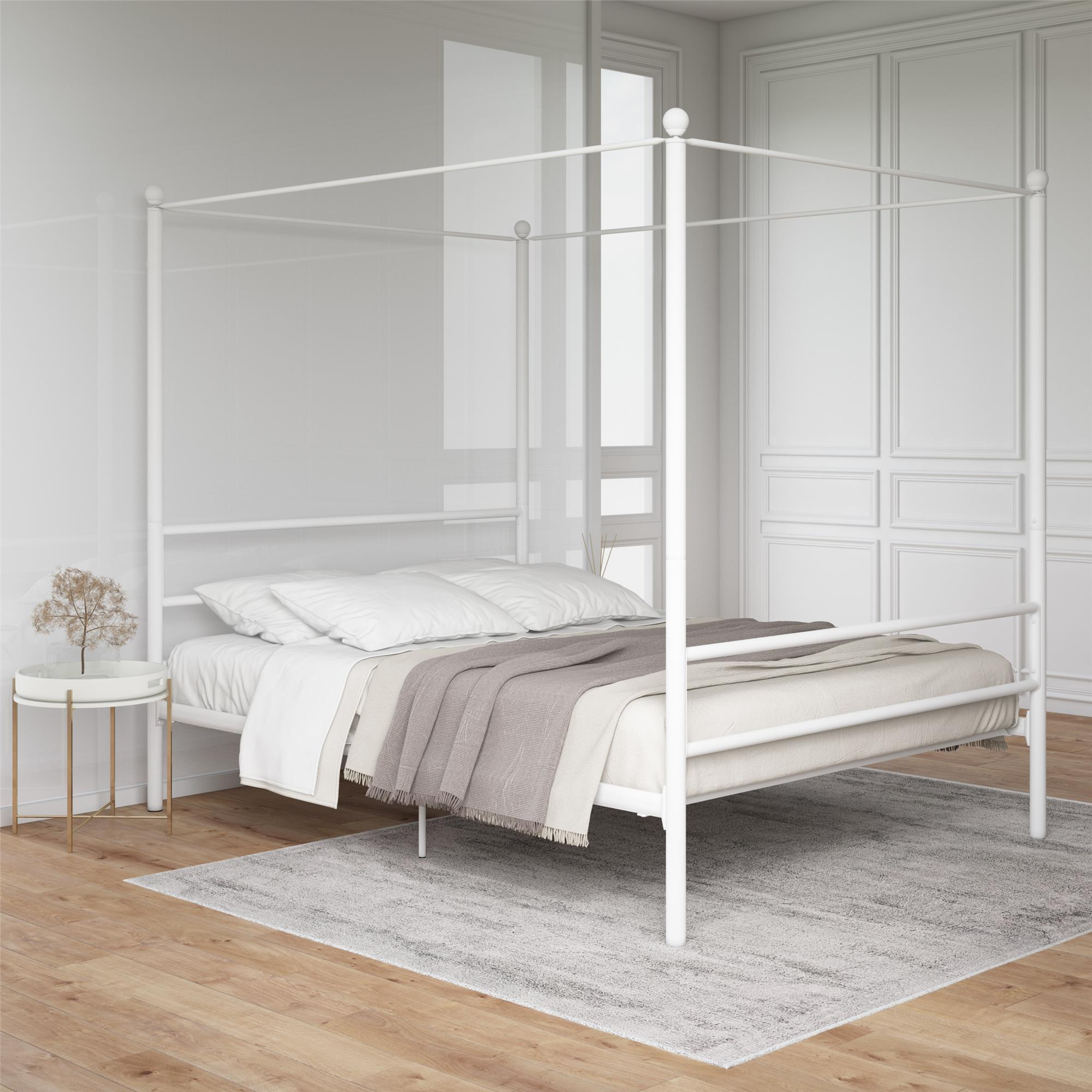 Mainstays Metal Canopy Bed White Queen Walmart Com Walmart Com
