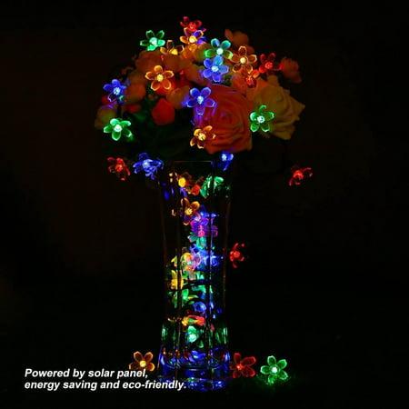 Anauto Peach Blossom Solar Lights, Peach Blossom Lights Decor,9.5m Solar Powered 50 LED Peach Blossom String Lights Christmas Party Decor Lamp (Light Peach Resin)