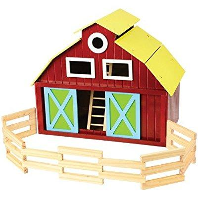 Constructive Playthings deluxe wooden barn playset