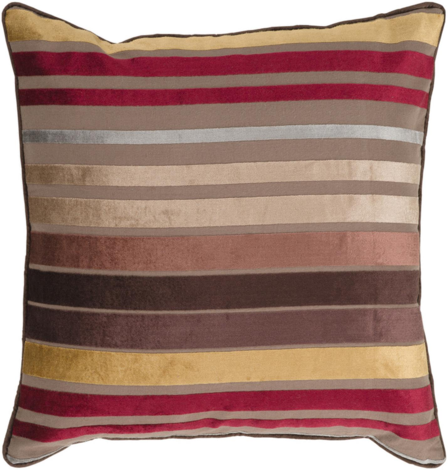 "18"" Bright and Vibrant Brown and Red Striped Decorative Down Throw Pillow"
