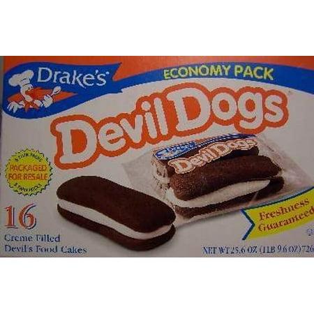 Drake's Cakes Devil Dogs - 16 Pack (be aware: shelf life 2 to 3 weeks) (Devil Dog Mall)