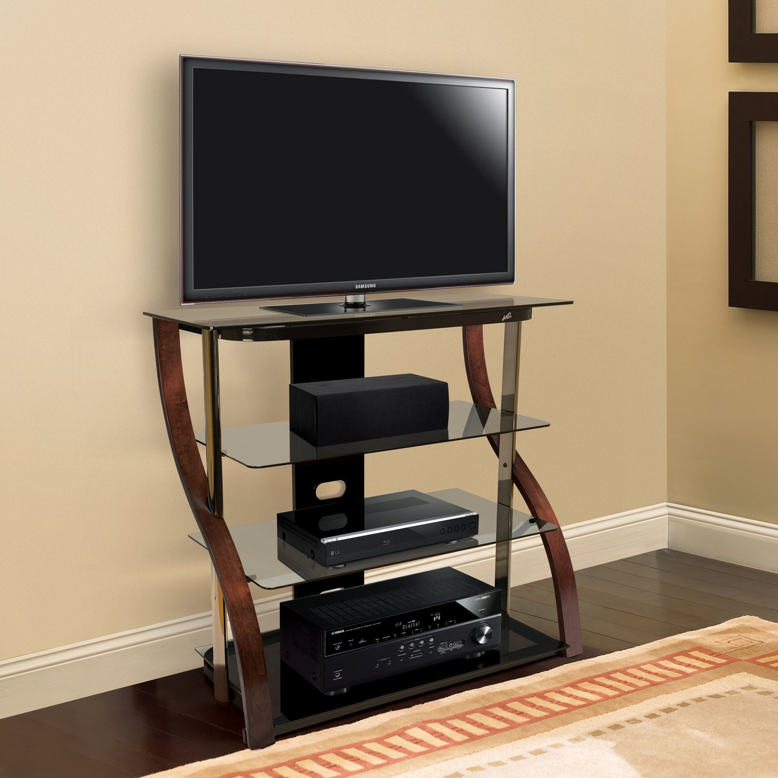BellO 40 in. Curved TV Stand - Black/Espresso