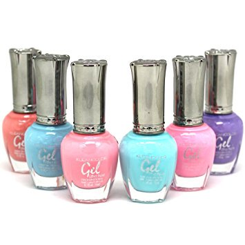 Effect Gel - KLEANCOLOR Gel Effect Nail Polish Lacquer Full Size PASTEL Collection -6 pc Set