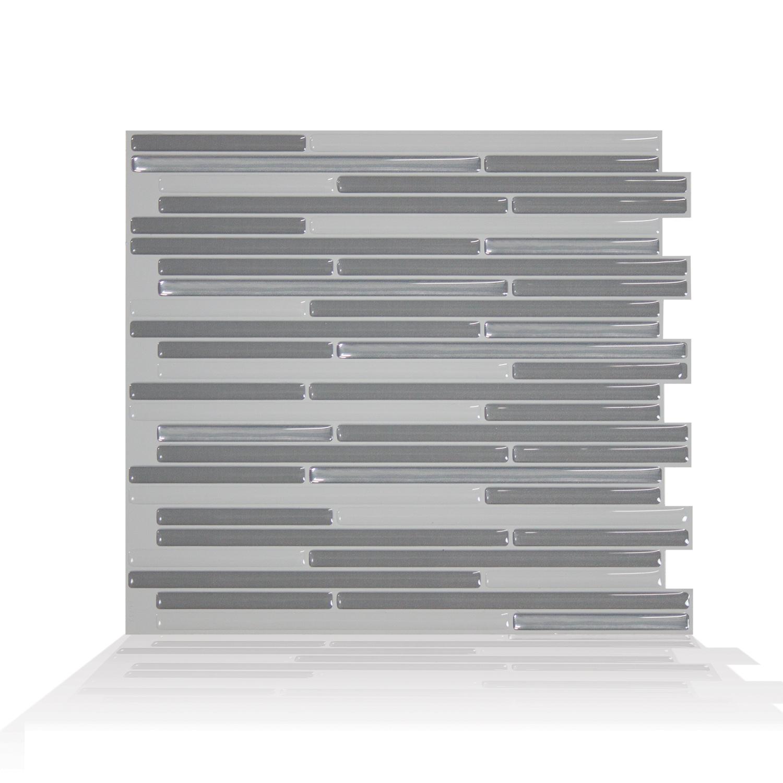 Smart Tiles 10.20 in x 9.10 in Peel and Stick Self-Adhesive Mosaic Backsplash Wall Tile - Loft Grigio (each)