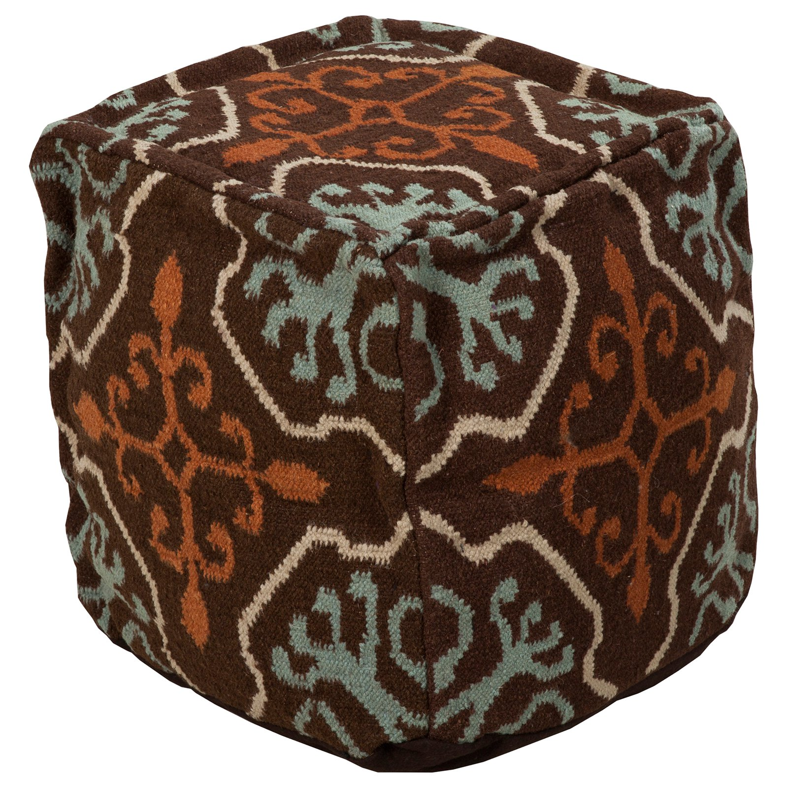 Surya 18 in. Square Wool Pouf
