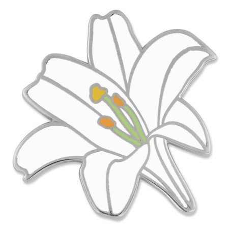 PinMart's White Lily Flower Boutineer Cute Trendy Enamel Lapel Pin ()