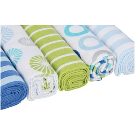 Luvable Friends Flannel Receiving Blankets, Blue Pinwheel, 5 Count Royal Blue Receiving Blanket