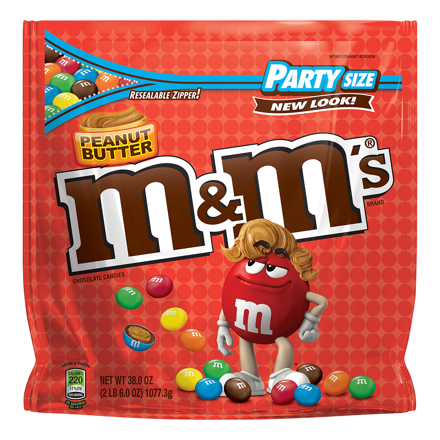 M&M'S Peanut Butter Chocolate Candy Party Size Bag, 38 oz by MARS, INC.