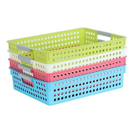 Magshion Bath Kitchen Classroom Plastic Storage Baskets/Bins Set Of 4](Classroom Storage)