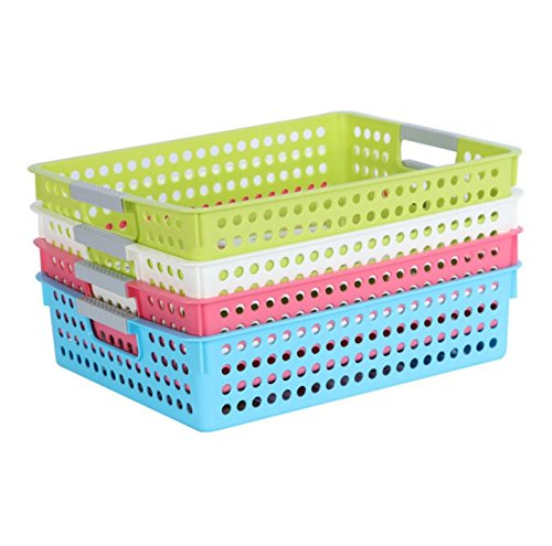 Beau Magshion Bath Kitchen Classroom Plastic Storage Baskets/Bins Set Of 4