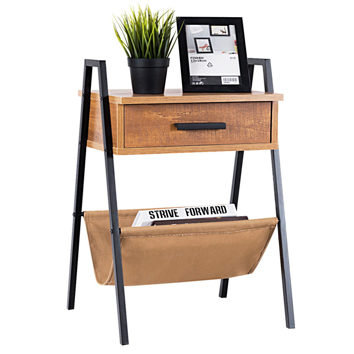Gymax Accent End Side Sofa Table Nightstand Drawer Display Storage W/ Magazine Holder