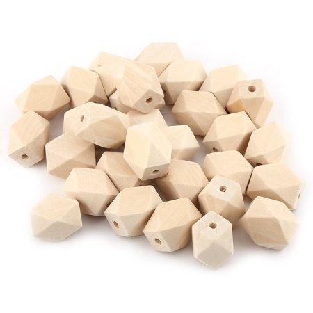 30Pcs/Lot Natural Geometric Figure Wooden Beads Faceted Cube For Necklace Bracelet DIY Craft , Geometric Wooden Beads, Natural Wooden Beads