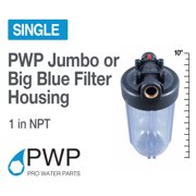 """10x4.5 Clear Water Filter Housing 1"""" NPT W/ BrassInsert Whole House RO/DI"""
