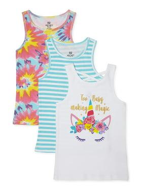 Pink Velvet Girls Graphic, Stripe, & Print Tank Tops, 3-Pack, Sizes 4-16
