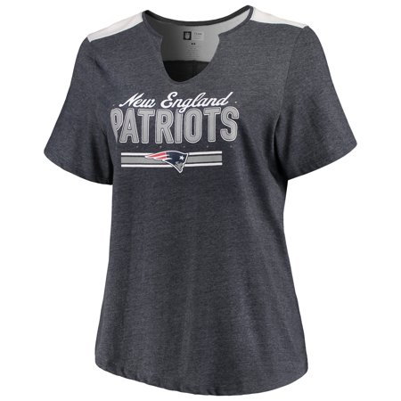 Women's Majestic Heathered Navy New England Patriots Notch Neck Plus Size T-Shirt