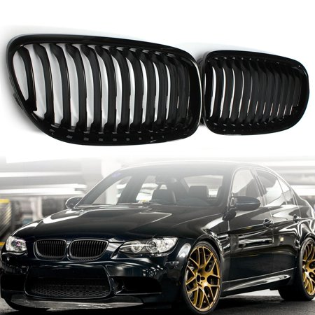 Gloss Black Baking Varnish Front Kidney Grille Grill For BMW E90 2009-2012 ()