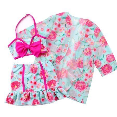 Toddler Baby Girls Halterneck Floral Bikini With Chiffon Cover Up 3pcs Beach Bathing Suit Swimwear