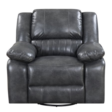 Emerald Home Navaro Gray Recliner with Swivel Glider, Faux Leather Upholstery, And Pillow Top Back