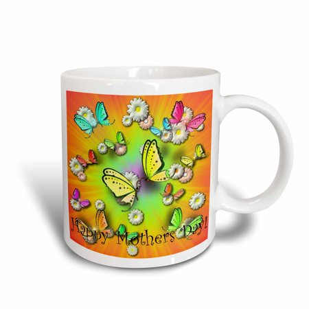 3dRose Rainbows Swallowtails and Daisies Happy Mothers Day , Ceramic Mug, 15-ounce](Happy Mothers Fay)