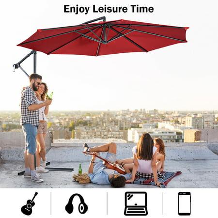 10' Hanging Umbrella Patio Sun Shade Offset Market W/ T Cross Base Burgundy - image 3 of 10