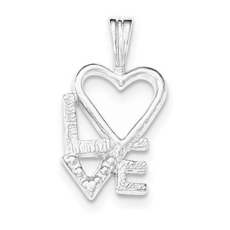 Sterling Silver Polished L HEART V E Chain Slide (Polished Heart Slide)