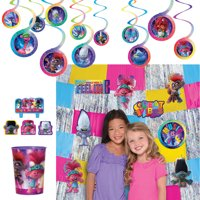 Party City Trolls World Tour Room Decorations, Tassel Ceiling Decorations, Swirls with Cutouts, and a Fringe Backdrop