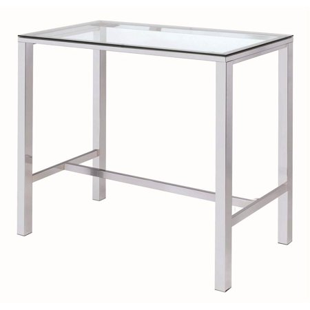 Coaster Bar Table in Chrome, Glass top ()