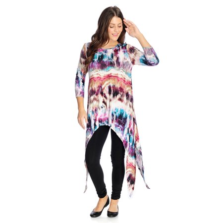 Kate & Mallory Women's Knit Dramatic Sharkbite Top in Ikat Multi - Medium