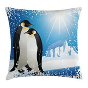 Winter Throw Pillow Cushion Cover, Cute Penguins on Iceland at Arctic Snowy Frozen Climate Kids Illustration, Decorative Square Accent Pillow Case, 16 X 16 Inches, Sky Blue White Black, by Ambesonne