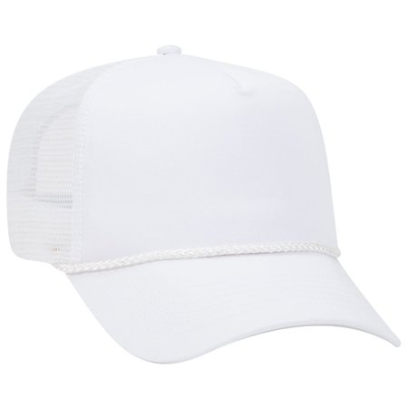 OTTO Cotton Blend Twill 5 Panel Pro Mesh Back Trucker Hat - White](Trucker Mustache)