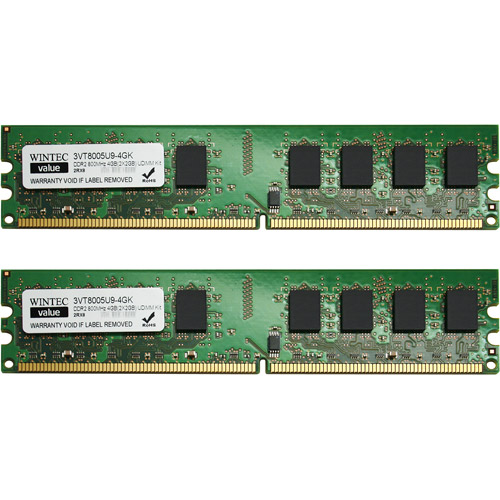 Wintec Value 4GB DDR2 800MHz PC64000 DIMM Desktop Memory Kit 4GB(2x2GB)