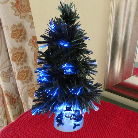 evelots mini christmas tree fiber optics artificial with led and stand - Walmart Small Christmas Tree