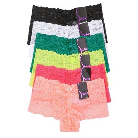 6 Pack of Women Hipster Panties Floral Lace Boyshorts Cheeky Underwear (Lace Cheeky Boyshorts Panties)