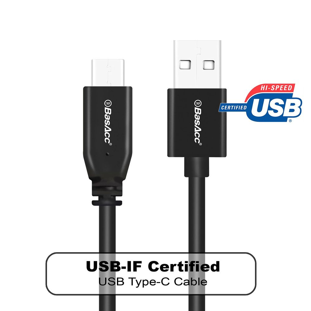 "BasAcc 3' USB Type C to USB Type A Cable for Nintendo Switch GoPro Hero 5 Black Session Macbook Retina 13"" 15"" Chromebook Pixel 2015 Samsung Galaxy S8 S8+ Plus Note 8 LG V30 V20 G6 ZTE Zmax Pro Black"