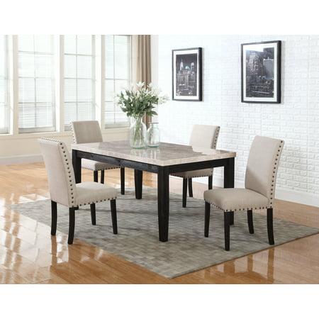 Best Master Furniture Celeste 5 Pcs Faux Marble Antique Black Dinette Set - Best Master Furniture Celeste 5 Pcs Faux Marble Antique Black