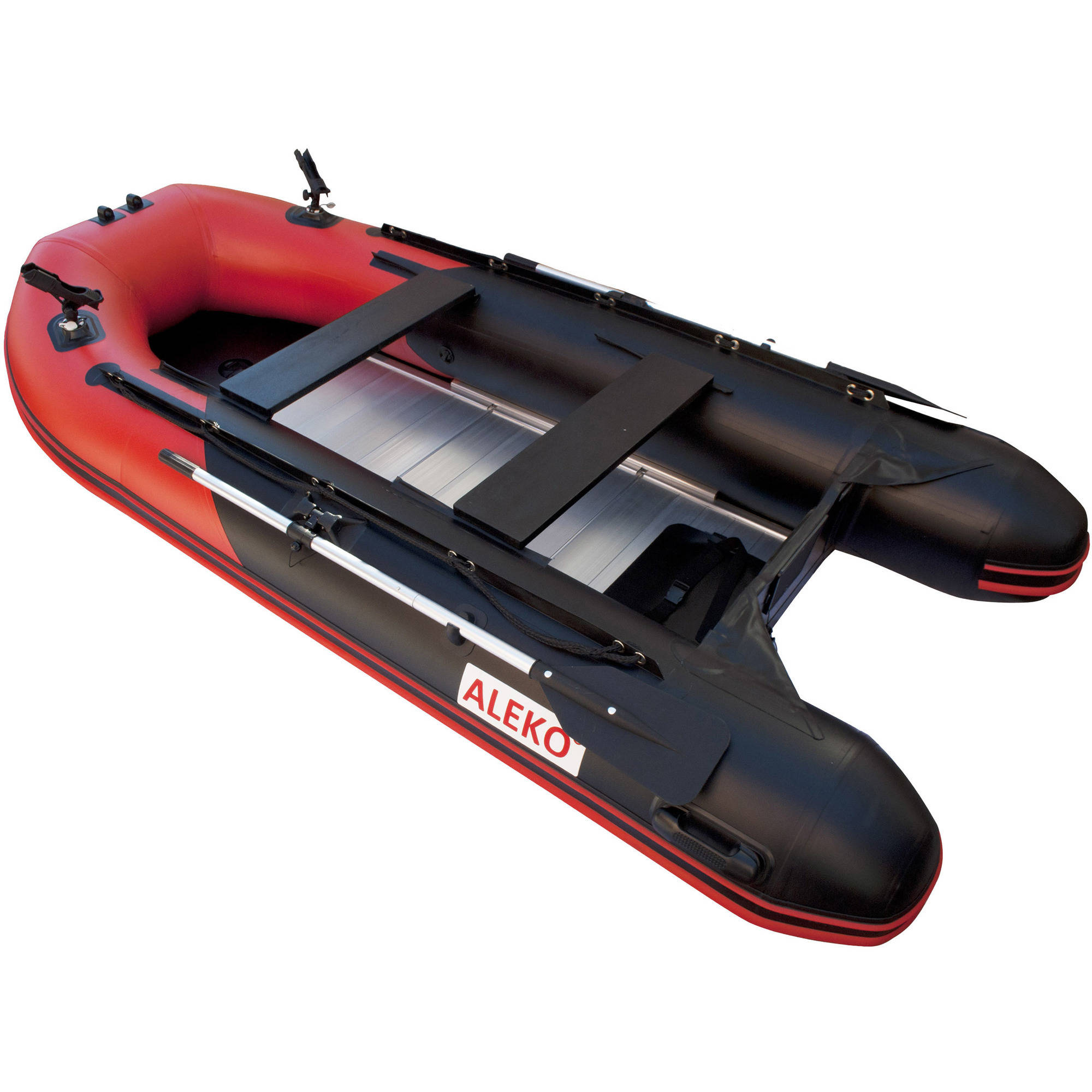 ALEKO PRO Fishing Inflatable Boat with Aluminum Floor - Front Board Holders - 10.5 ft - Red and Black