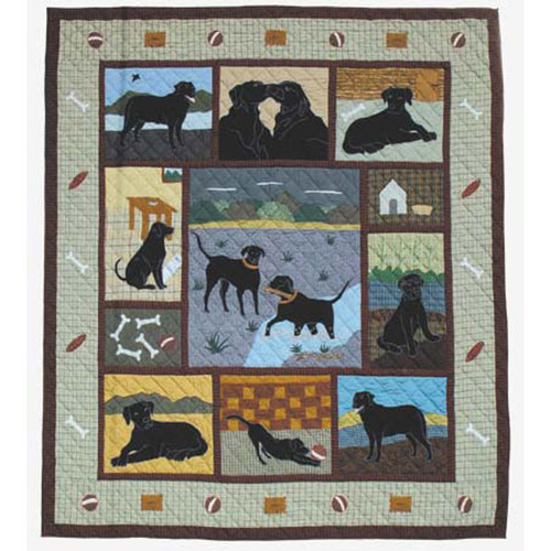 Patch Magic QTBLAB Black Lab, Quilt Twin 65 x 85 inch by Patch Magic