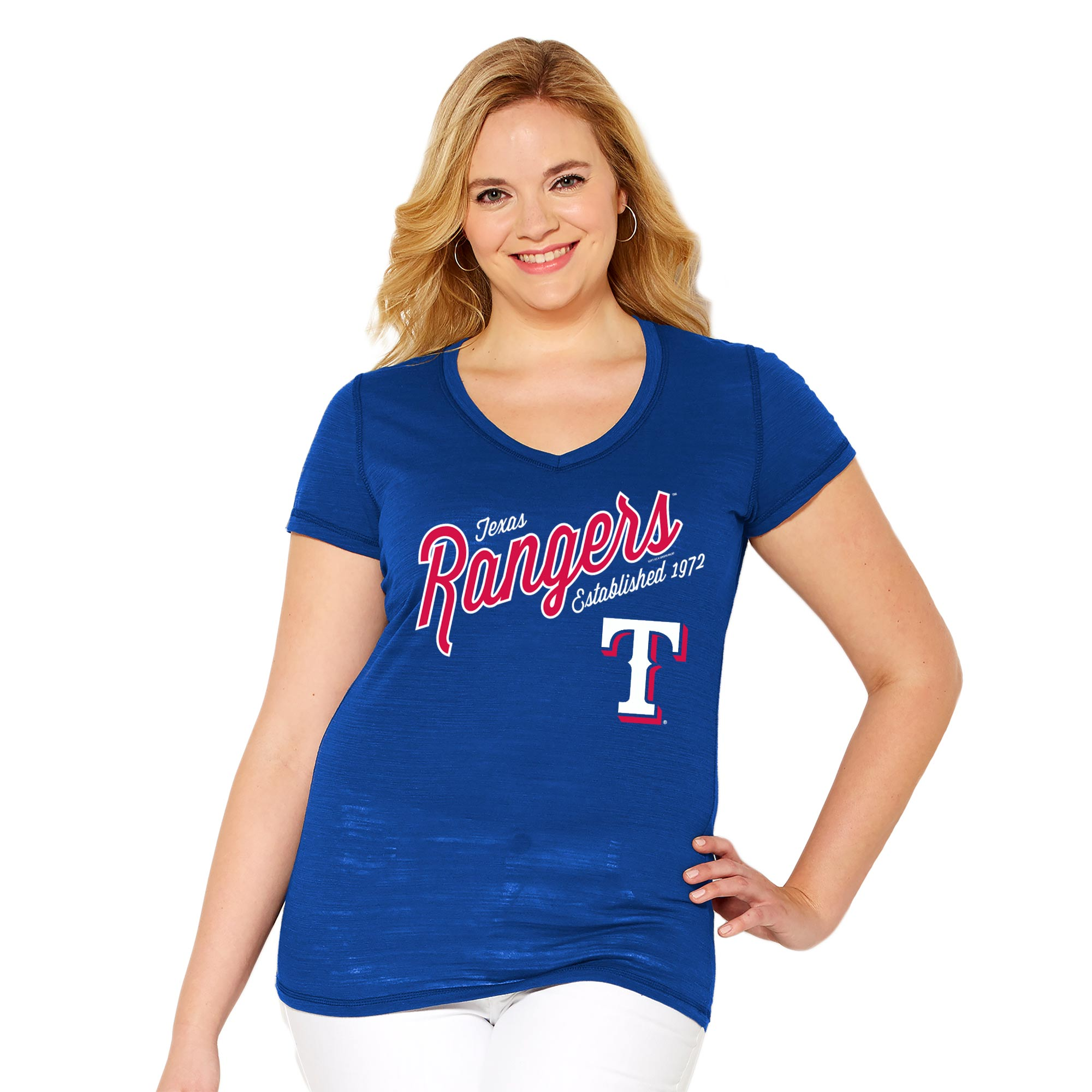 Texas Rangers Soft As A Grape Women's Plus Size Fastball V-Neck T-Shirt - Royal