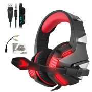 VONKY Hunterspider V3 Gaming Headset Stereo Noise Cancelling Wired Earphone LED Gaming Microphone Headphone, Black Red